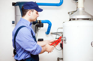 image of water heater repair in residential home