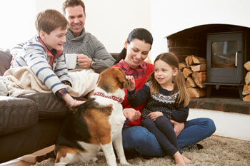 family enjoying time indoors in winter