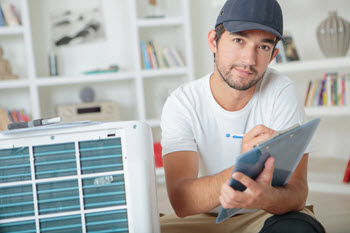 consulting with an HVAC contractor